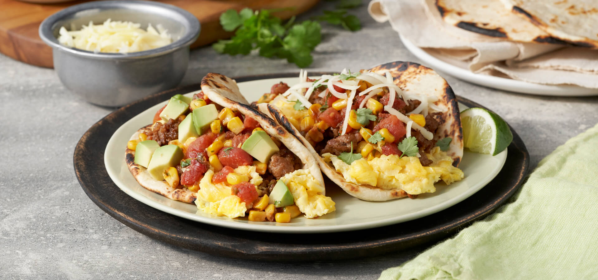 Breakfast Tacos with Roasted Corn Salsa