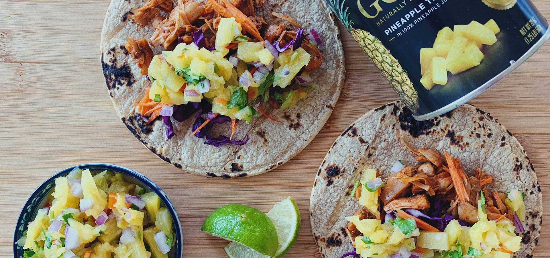 Spicy Chipotle Jackfruit Tacos & Pineapple Salsa