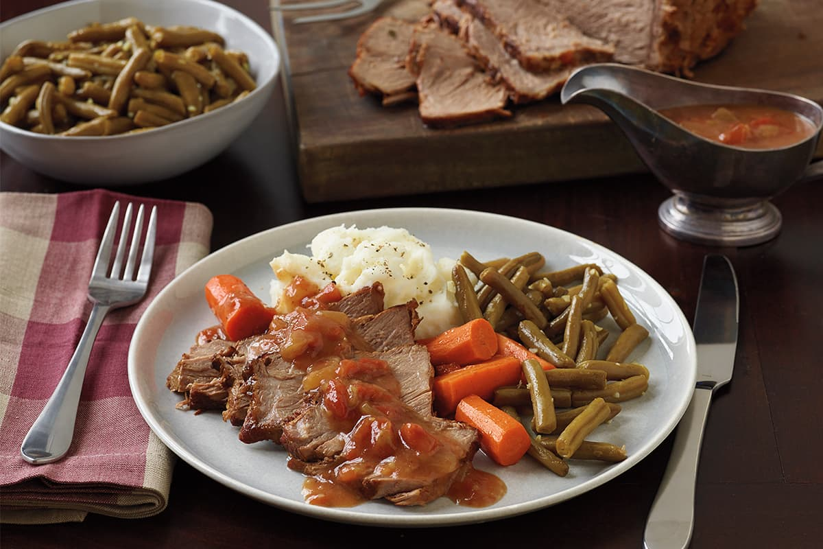 Americana Pot Roast with Garlic Fried Green Beans