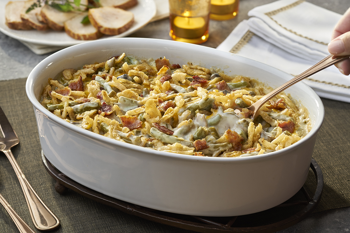 Bacon & Cheddar Green Bean Casserole