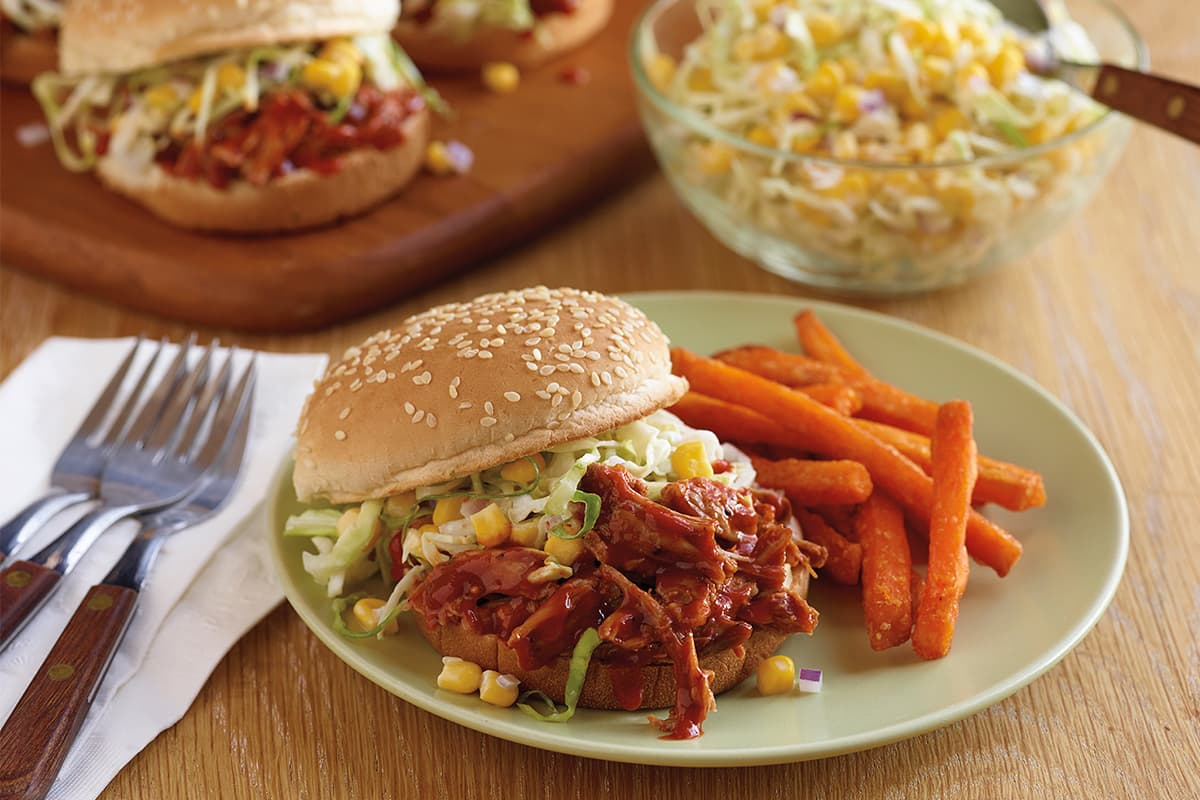 BBQ Sloppy Joes with Corn Slaw