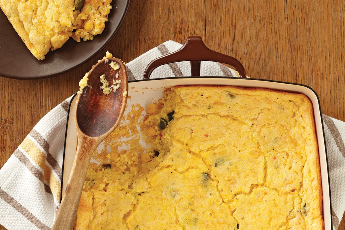 Corn and Poblano Spoon Bread