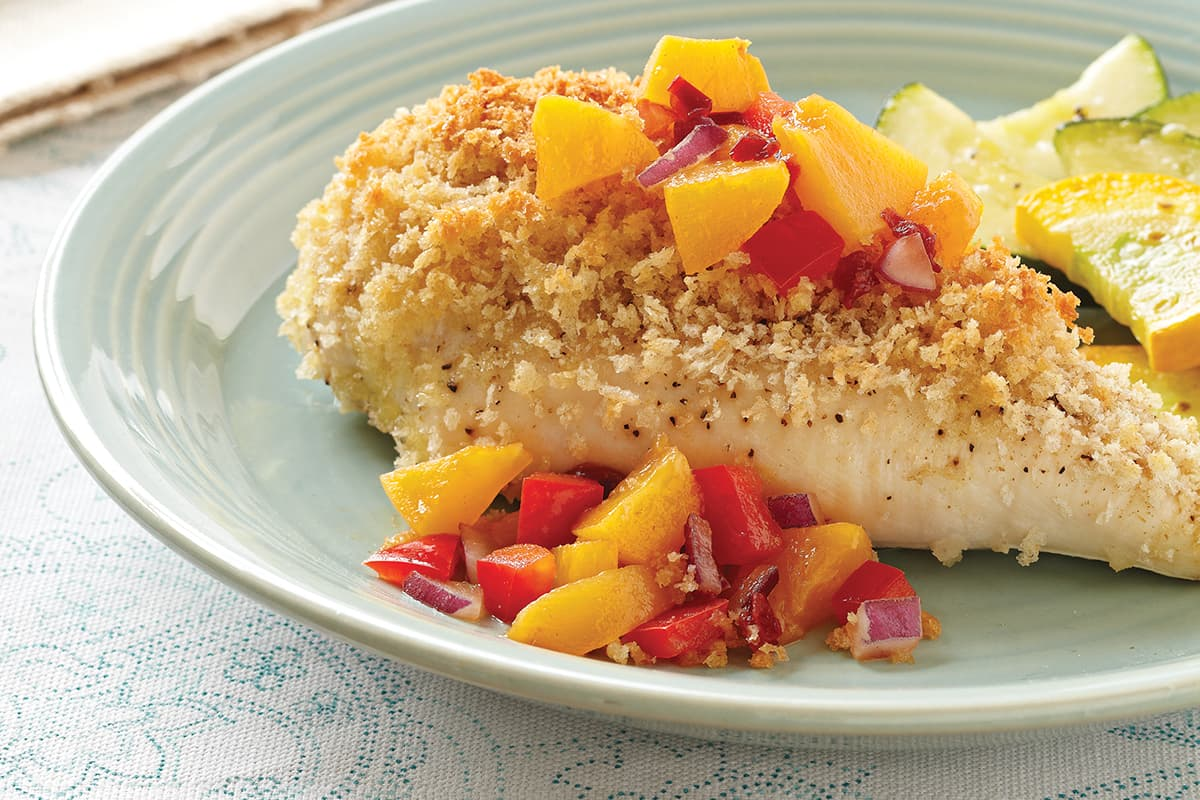 Cumin-Crusted Chicken Breasts with Chipotle Peach Salsa