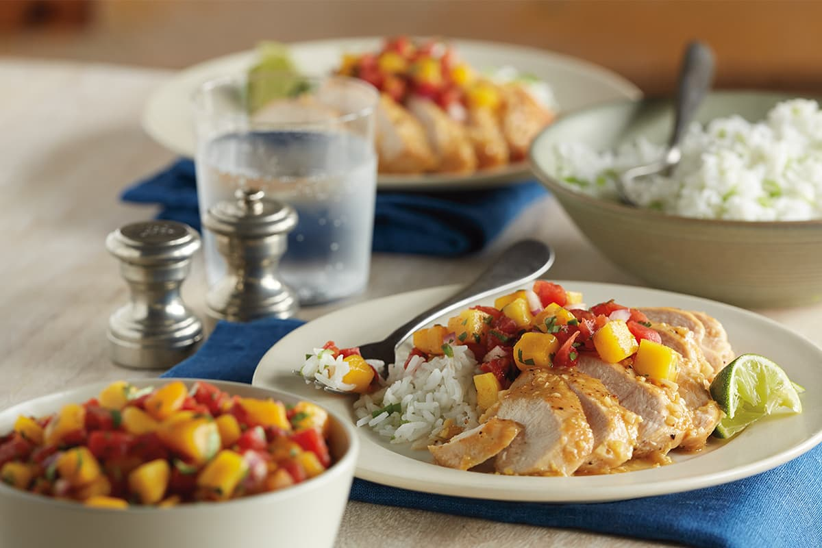 Ginger Chicken with Mango Salsa