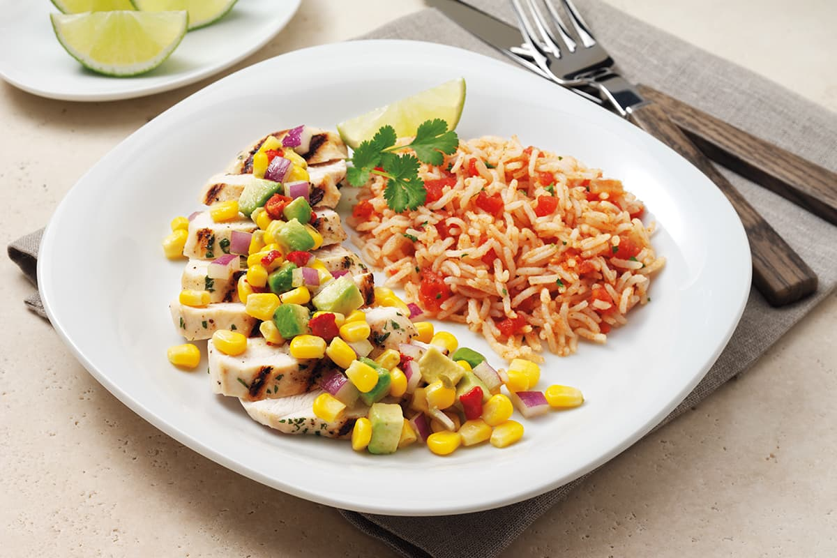 Grilled Chicken with Corn, Avocado and Onion Relish