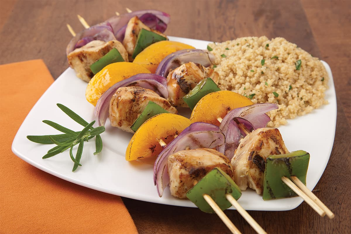 Grilled Chicken & Peach Kabobs