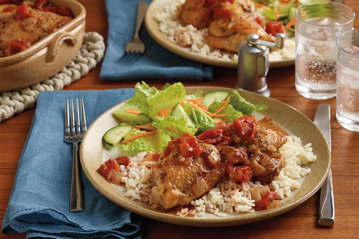 Italian Braised Chicken Thighs with Rice
