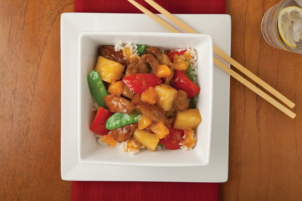 Mandarin-Pineapple Pork and Snow Peas