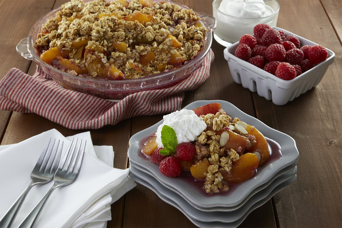 No Bake Peach Melba Crisp