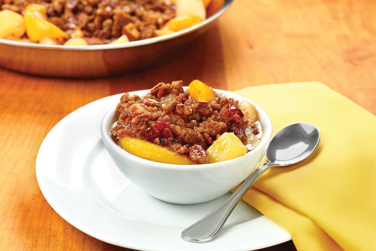 Pineapple-Peach-Pear Skillet Crisp