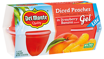 Peaches in Strawberry-Banana Flavored Gel - Lite, Fruit Cup® Snacks