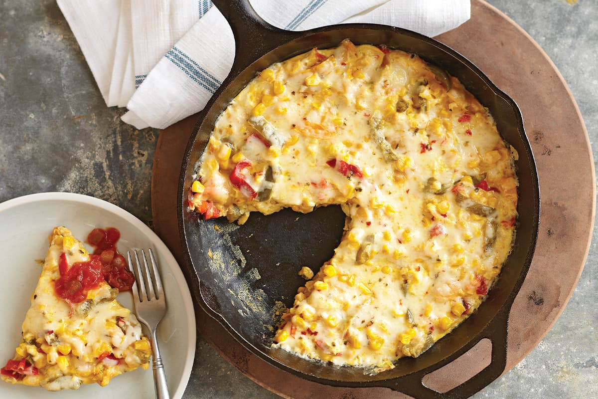 Quick Corn and Pepper Jack Frittata