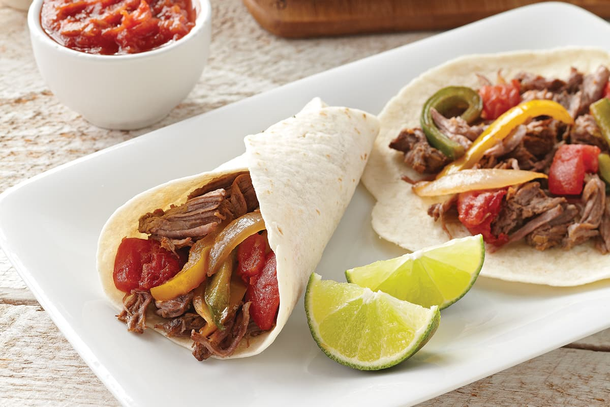 Roast Beef and Tomato Fajitas