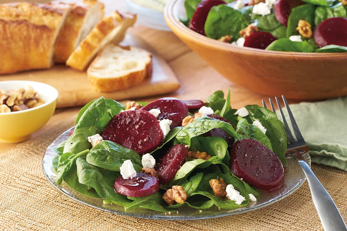 Spinach Salad with Beets, Walnuts & Goat Cheese